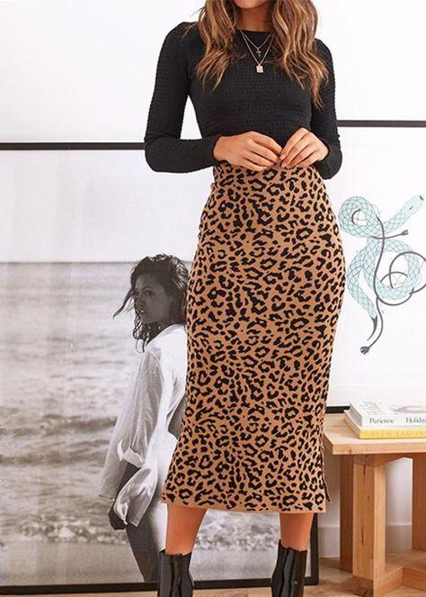 Women Leopard Print Bodycon Midi Skirt - Outfits for Work Printed Skirt Outfit, Leopard Skirt Outfit, Midi Rock Outfit, Leopard Print Outfits, Midi Skirt Outfit, Leopard Print Skirt, Printed Skirts, Cheetah Print Clothes, Leopard Fashion