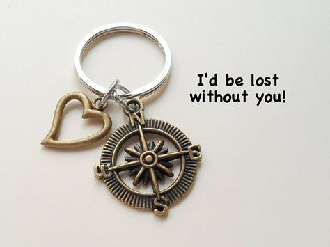 Bronze Metal Compass Keychain with Heart Charm-I'd Be Lost Without You – JewelryEveryday