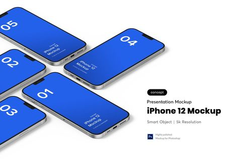 Isometric iPhone 12 Mockup by tunerpixel on Envato Elements