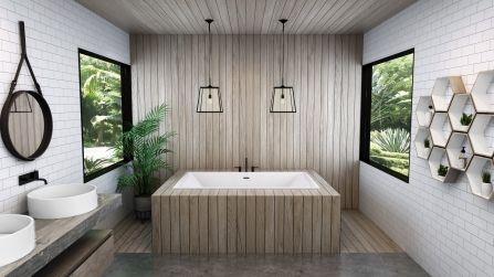 Offre Un Interieur Tres Spacieux Design Ultramoderne Aux Lignes Epuree Modele Podium A Rebords Minces Pour Une Al Salle De Bain Design Spacieux