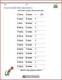 1st Grade Place Value Worksheets 2 Digit numbers