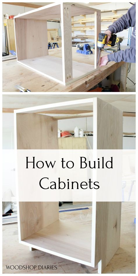 How to Build Cabinets tutorial! You don't need a bunch of fancy tools to build simple cabinets for kitchen, bathroom, mudroom, garage. Built your own cabinets with this easy tutorial and with minimal tools! Awesome Woodworking Ideas, Woodworking For Kids, Woodworking Projects Diy, Woodworking Furniture, Woodworking Shop, Woodworking Plans, Diy Furniture, Woodworking Equipment, Woodworking Techniques