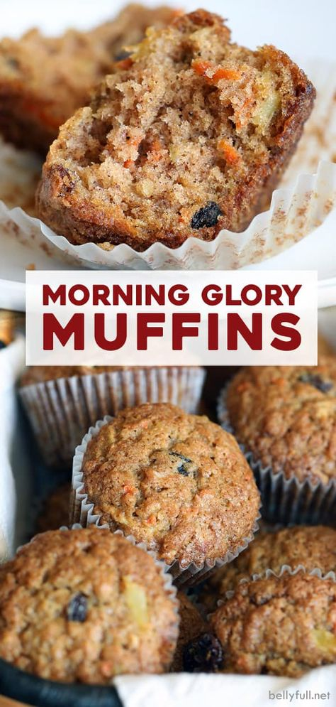 Adapted from Ina Garten, these Morning Glory Muffins are made with a little bit of everything: flour, carrots, apples, p Healthy Breakfast Muffins, Breakfast On The Go, Breakfast Recipes, Dessert Recipes, Carrot Cake Muffins Healthy, Coconut Muffins, Breakfast Cake, Desserts, Morning Glory Muffins