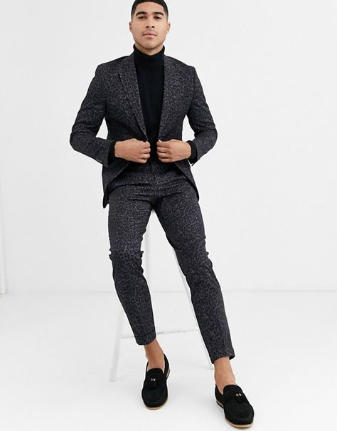 Jack & Jones Premium leopard print suit pants in black