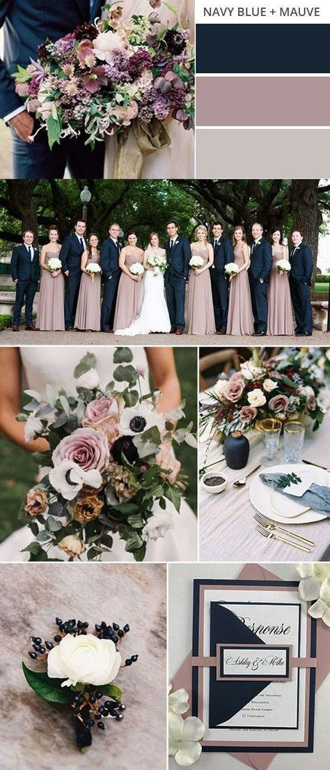 Fall wedding colors - navy blue and mauve fall wedding color ideas weddingcolors fallwedding weddingideas weddingdecor weddingdress Mauve Wedding, Fall Wedding Colors, Burgundy Wedding, Wedding Colour Palettes, Navy Blue Wedding Theme, September Wedding Colors, Fall Wedding Themes, September Themes, Navy Blue Weddings
