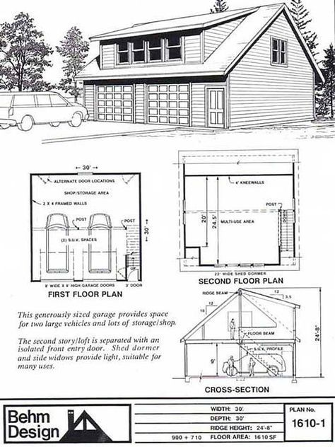 2 Car Shed Dormer Garage Plan With Loft 1610 1 30 X 30 By Behm Garage Plans Detached Garage Plans With Loft Garage Plans