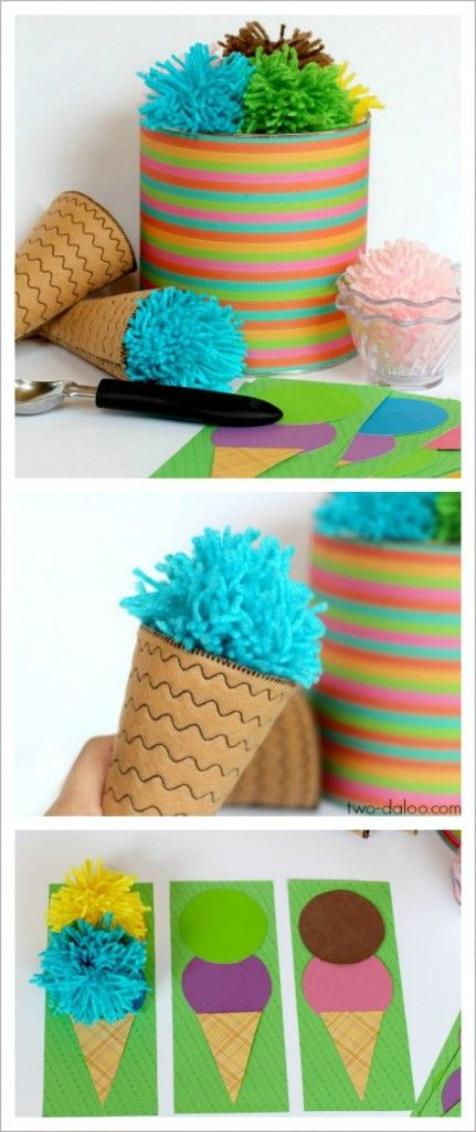 A DIY tutorial for a colorful ice cream play set made of felt, yarn pom poms, and a coffee can. Also contains instructions for an easy color matching game.