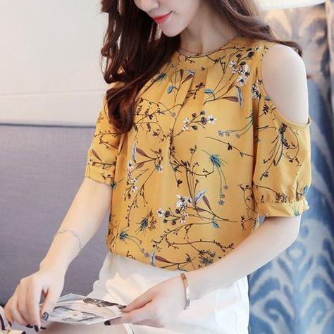 8bbeb1c2d91 Summer Style Floral Shirt For Womens Elegant Open Shoulder Blouses Chiffon  Print Blusas Women Ete Plus Size Female Tops