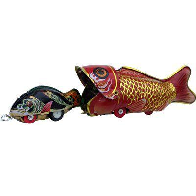 Ebern Designs Lulette Decorative Tin Toy Fish Eating Whale Tin Toys Antique Toys Vintage Toys