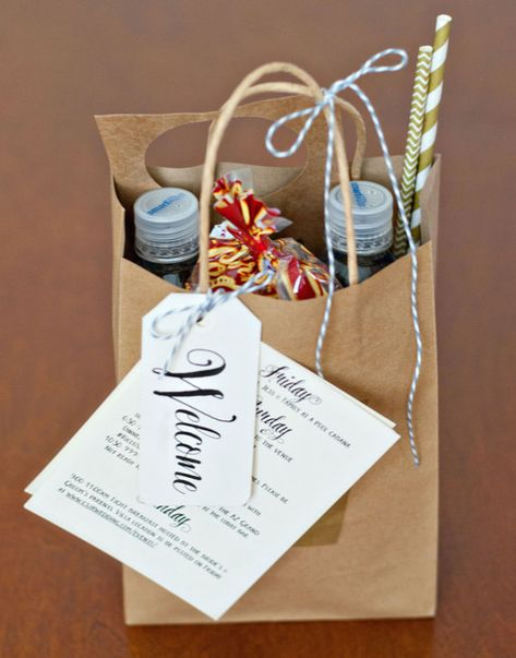 Wedding Gifts For Guests Welcome bags we made for our Phoenix, AZ wedding in April Wedding Guest Bags, Wedding Gifts For Guests, Wedding Favor Bags, Wedding Favors Cheap, Wedding Ideas, Nautical Wedding Favors, Destination Wedding Favors, Bridesmaid Gift Bags, Wedding Shower Favors