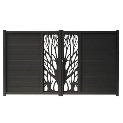 Portail Aluminium Blooma Idaho Noir 9017 350 X H 176 Cm Portail Aluminium Portes De Jardin En Metal Portail