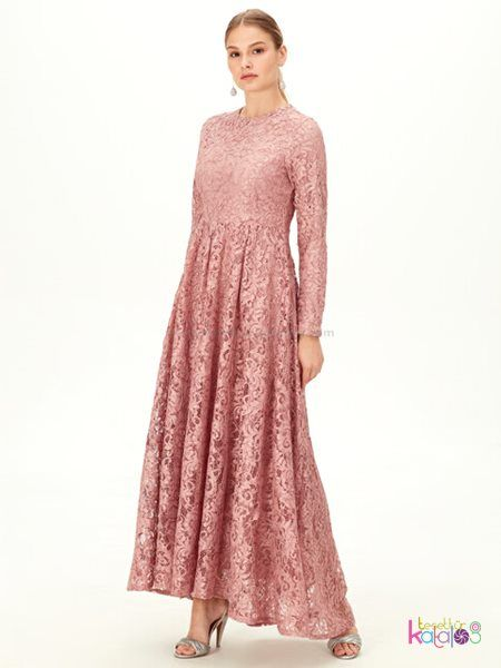 Dantelli Uzun Abiye Elbise Pembe 2020 The Dress Aksamustu Giysileri Elbise