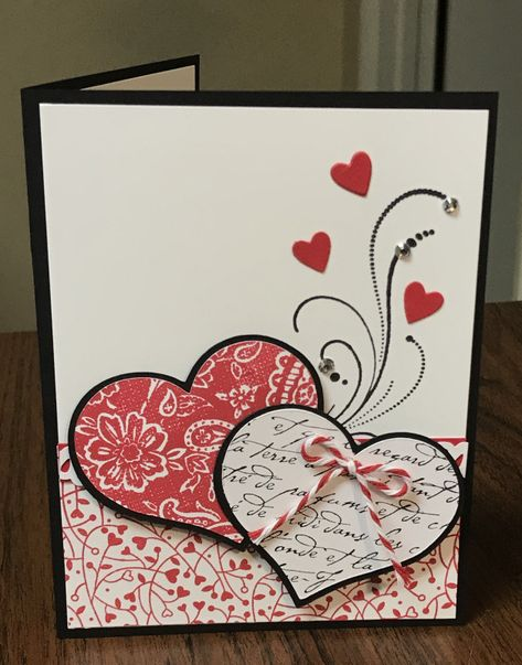 Valentine Card by Cindy Farina – Cards and Paper Crafts at Splitcoaststampers Carte de Saint Valentin Valentines Day Cards Handmade, Valentines Diy, Greeting Cards Handmade, Saint Valentine, Homemade Valentine Cards, Paper Cards, Diy Cards, Card Sketches, Anniversary Cards