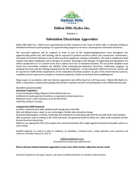 electrician cover letter examples tips write for apprenticeship - substation apprentice sample resume