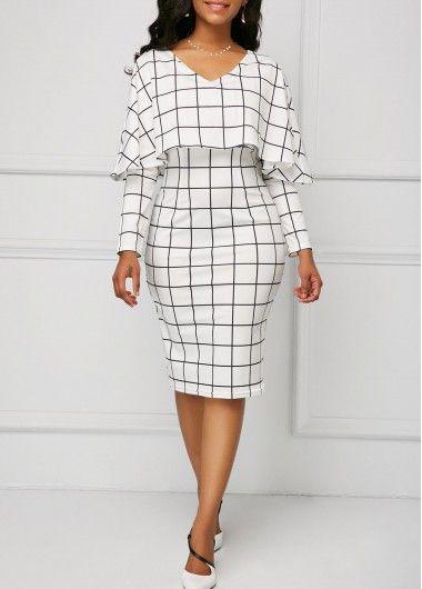 V Neck Dress Long, Dame Chic, White Sheath Dress, White Dress, Dresses For Work, Dresses With Sleeves, Plaid Fashion, Street Fashion, Women's Fashion Dresses