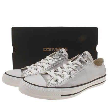 e906e465f631 womens converse silver all star metallic canvas ox trainers