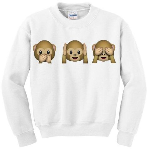 Emoji Clothes, Sweatpants, Tops, Bags, and Jewelry - Monkey Emojis See No Evil Sweatshirt, $25; at Etsy