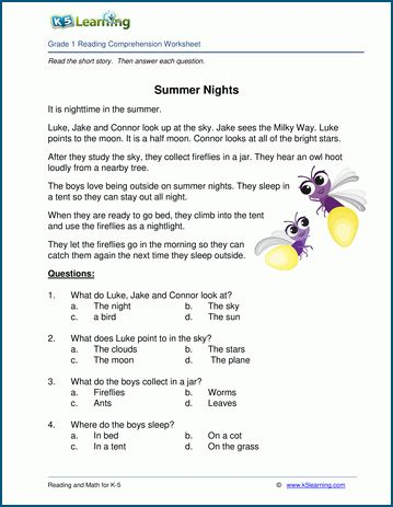 Summer Nights Grade 1 Children S Story K5 Learning Reading Comprehension Worksheets Reading Comprehension For Kids Reading Comprehension