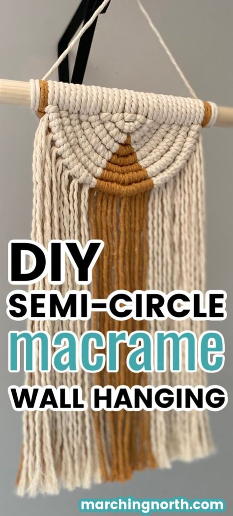 Learn how to make a beautiful semi circle DIY macrame wall hanging in this step by step tutorial (+ video!) Add some boho vibes to your home today! Macrame Wall Hanging Patterns, Diy Wall Hanging, Macrame Wall Hangings, Free Macrame Patterns, Macrame Knots, How To Macrame, Macrame Art, Micro Macrame, Pin On