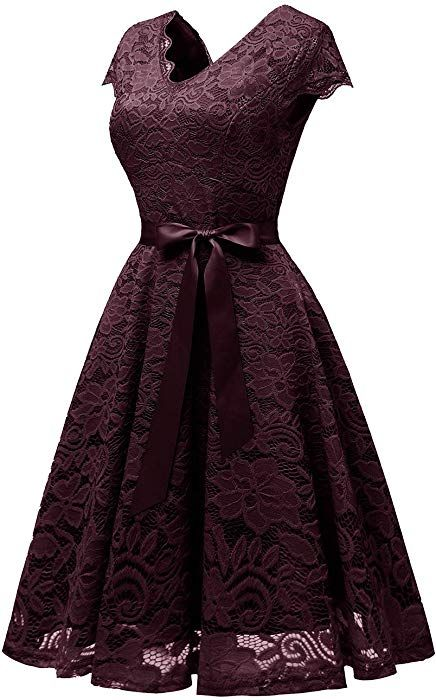 Vinvv Womens Short Vintage Lace Dress Cap Sleeve Bridesmaid