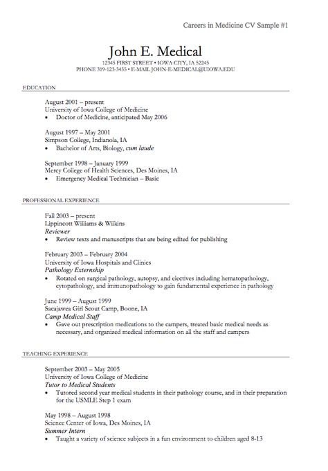medicine sample cv - http\/\/resumesdesign\/medicine-sample-cv - resume reviewer
