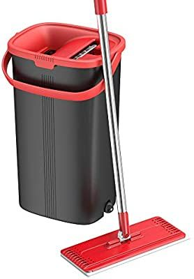 Amazon Com Tethys Flat Floor Mop And Bucket Set For Professional Home Floor Cleaning System With Aluminum Handle In 2020 Microfiber Mops Kitchen Cleaner Floor Cleaner