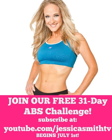 Forget the abs challenges (like those 100 rep crunches or 3-minute planks!) that can leave you with muscular imbalances and poor form - join us instead for a well rounded workout plan that will still work your abs (and entire core) while also keeping you on track with a balanced mix of strength, cardio and flexibility routines. Sign up by simply subscribing to our channel (youtube.com/jessicasmithtv!). Challenge begins 7/1/14!