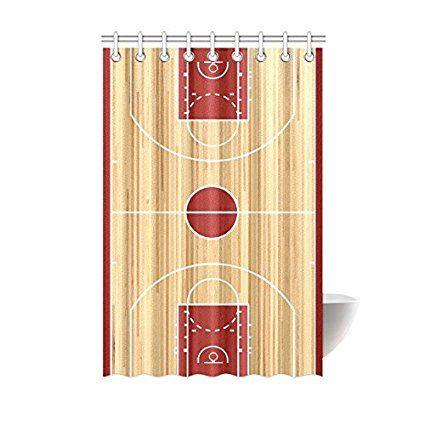 Shower Curtain Basketball Court Floor Plan Polyester Fabric Print