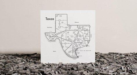 Texas Map Screenprint 17.5x17.5