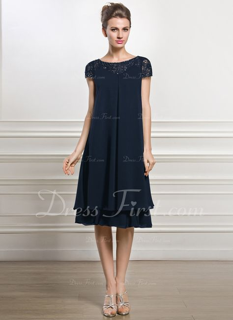 09157a119bb Empire Scoop Neck Knee-Length Chiffon Mother of the Bride Dress With  Beading Sequins (008057066)