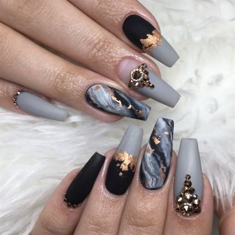 Day 233: Marble and Foil Nail Art - - NAILS Magazine