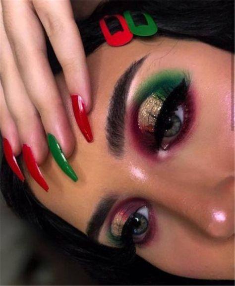 Creative And Gorgeous Christmas Makeup Ideas For The Big Holiday; Creative Eye Makeup; Christmas Makeup; Makeup Ideas; Christmas Makeup Looks; Holiday Makeup; Holiday Eye Makeup; Holiday Makeup Looks; Christmas Holiday; Christmas Makeup;