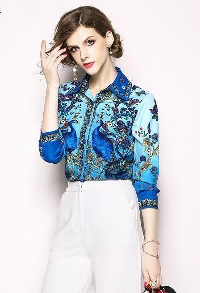 3a31e415a45 Luxury Print Vintage Long Sleeve Shirt Women Blouses Runway Designer ...
