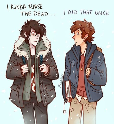 Nico (from the Percy Jackson book series) and Dipper (Gravity Falls) Gravity Falls Crossover, Gravity Falls Art, Fandom Crossover, Gravity Falls Dipper, Gravity Falls Poster, Gravity Falls Secrets, Gravity Falls Journal, Percy Jackson Art, Percy Jackson Memes