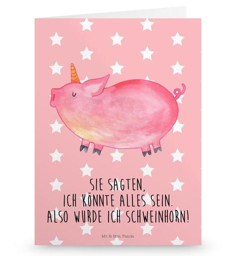 """Grußkarte Einhorn Schweinhorn aus Karton 300 Gramm weiß - Das Original von Mr. & Mrs. Panda. Die wunderschöne Grußkarte von Mr. & Mrs. Panda im Format Din Hochkant ist auf einem sehr hochwertigem Karton gedruckt. Der leichte Glanz der Klappkarte macht das Produkt sehr edel. Die Innenseite lässt sich mit deiner eigenen Botschaft beschriften. Über unser Motiv Einhorn Schweinhorn """"Du kannst alles werden, was du willst!"""" Diesen Spruch haben viele Kinder von ihren Eltern gesagt bekommen. Das Schweinh"""