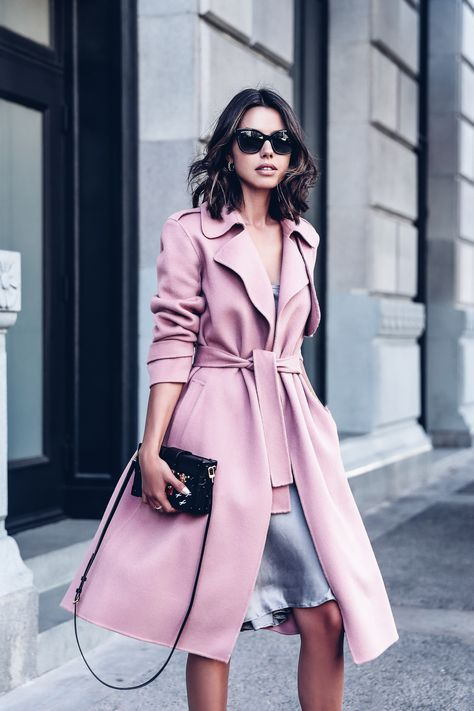 A Pink Coat and Gray Slip Dress - Found on Viva Luxury.
