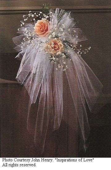 Pew Bows Rose And Baby S Breath Church Wedding Decorations Church Flowers Tulle Pew Bows