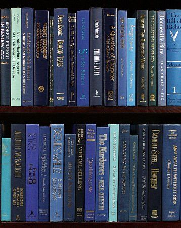 """We've Got the Blues""  Great way to bring a color scheme to your bookshelves for a great price!"