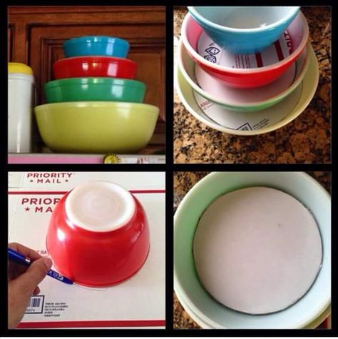 How to stack and display your, vintage Pyrex or whatever, bowls. Found this on Facebook. It's not my idea but I'll surely use it. Let me know who to give credit to