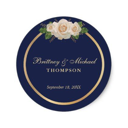 Navy With White Roses And Gold Frame Wedding Classic Round