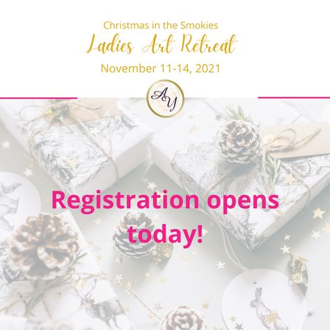 It's one hour until 7:00 pm! We're so excited to open early bird registration. (Hint: Prices will be increasing once early bird registration is over so you'll want to register early!) @camille_inspire @artstudioofthesmokies @reflectionsbychristina #artretreat #creativeretreat #ayotravels #creativity #refreshandrefuel #ladiesshoppingtrip #smokymountains #artinthesmokies #smokymountainartretreats #christmasinthesmokymountains