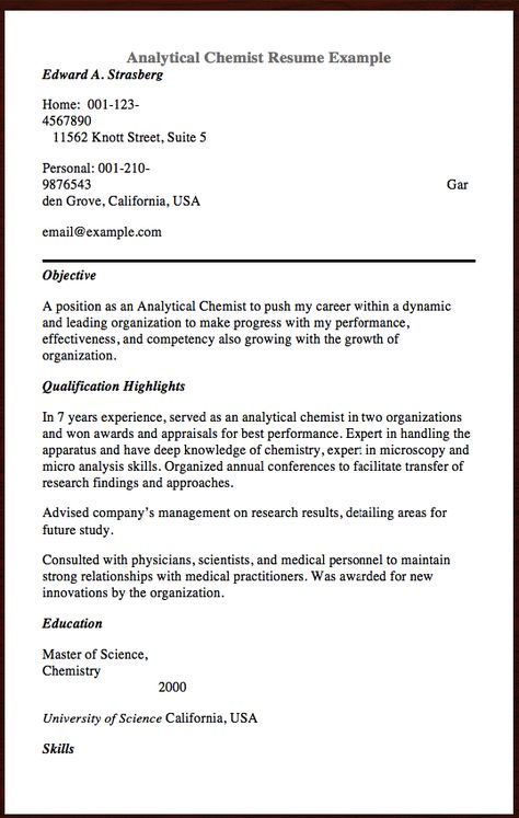 Here Is Analytical Chemist Resume You Can Check the Preview here - statement of qualifications example