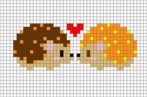 Hedgehog Pixel Art Point De Croix Mignon Point De Croix