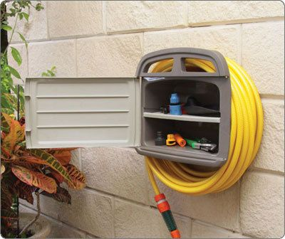 Deluxe Hose Hanger - Use with 45m/150ft Garden Hosepipe - Storage box for attachments - Easy to attach to Garages, Walls and Sheds - Keep your Garden Hose Tidy