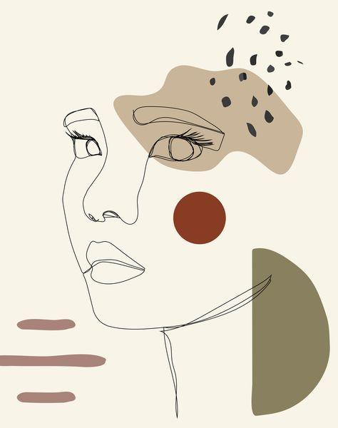 Feminist, Abstract, Woman, Minimal, One Line, Modern, Boho, Contemporary, Bohemian, Graphic Design, Digital Art #melminstudio