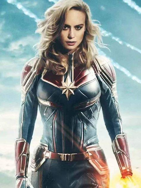 Avengers Endgame Captain Marvel Leather Jacket - Female / Real Leather / 3X-Large