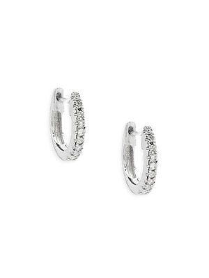 99f30e886ea78 Saks Fifth Avenue 14K White Gold & Diamond Huggie Hoop Earrings ...