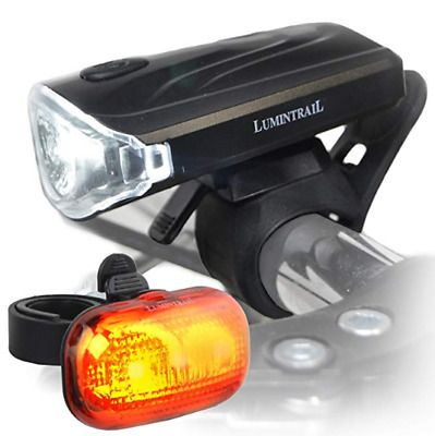 USB Rechargeable Bike Headlight Waterproof Bicycle Front Head Light /& Taillight