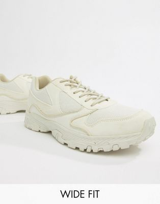 online store 80874 0b0f2 DESIGN Wide Fit trainers in off white with chunky sole in ...