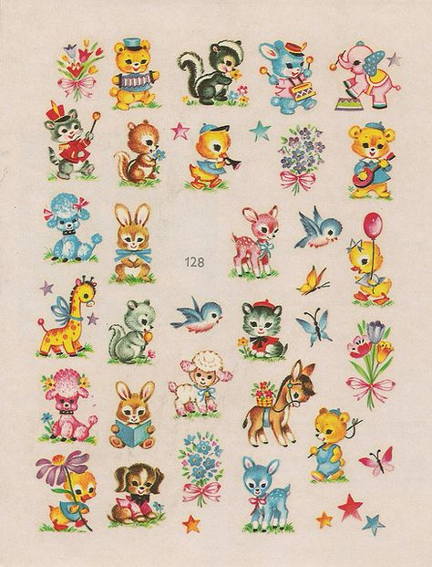 Mini adorable animal decals vintage images, vintage love, vintage prints, v Vintage Pictures, Vintage Images, Baby Pictures, Vintage Paper, Vintage Toys, Retro Vintage, Vintage Nursery, Kawaii, Vintage Greeting Cards